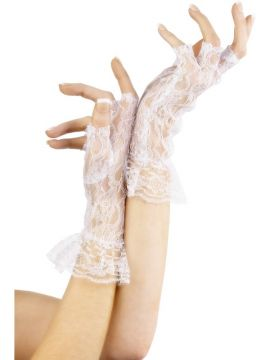 White Fingerless Gloves For Sale - White Fingerless Lace Gloves with frill cuff. | The Costume Corner Fancy Dress Super Store