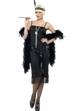 Black Flapper For Sale - Flapper Costume, Black, With Dress, Sash Belt and Headpiece | The Costume Corner Fancy Dress Super Store