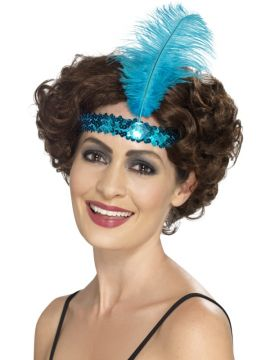 Flapper Headband For Sale - Flapper Headband, Blue, with Feather | The Costume Corner Fancy Dress Super Store