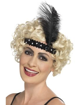 Flapper Headband Black For Sale - Black Flapper Headband with Feather | The Costume Corner Fancy Dress Super Store