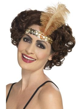 Flapper Headband Gold For Sale - Gold Flapper Headband with Feather | The Costume Corner Fancy Dress Super Store