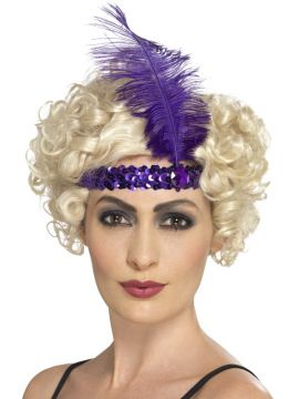 Flapper Headband Purple For Sale - Purple Flapper Headband with Feather | The Costume Corner Fancy Dress Super Store