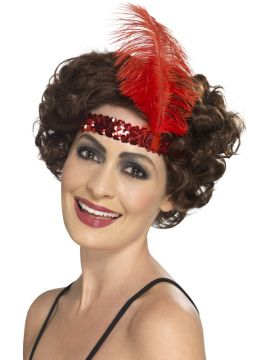 Flapper Headband Red For Sale - Red Flapper Headband with feather | The Costume Corner Fancy Dress Super Store