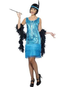 Flirty Flapper For Sale - Flirty Flapper Costume, Teal, with Dress, Headpiece and Necklace | The Costume Corner Fancy Dress Super Store
