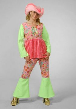 FP Pattern Top w/ Bellbottoms For Sale - FP Pattern top and flares with green bellbottoms. (Hire Costume) | The Costume Corner