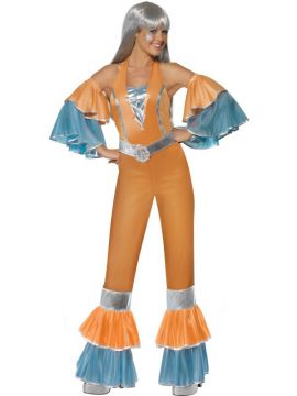 Frilly Fantastic - ABBAesque For Sale - Frilly Fantastic 1970'S Costume, Orange, With Jumpsuit, Sleeves and Belt. ABBA Style. Mamma Mia. | The Costume Corner Fancy Dress Super Store