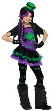 Funkie Frankie For Sale - Dress, glovelets, footless tights, mini hat on headband & boot covers | The Costume Corner Fancy Dress Super Store