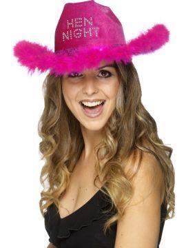 Hen Night Cowboy Hat For Sale - Fuschia Cowboy Hat with Fur Trim | The Costume Corner Fancy Dress Super Store
