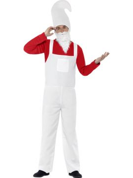 Garden Gnome Costume for Men For Sale - Red Top, Dungarees, Beard and Hat | The Costume Corner Fancy Dress Super Store