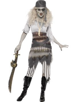 Ghost Ship Shipwrecked Sweetie Costume For Sale - Ghost Ship Shipwrecked Sweetie Costume, Grey, with Dress, Leggings, Belt, Eye Patch and Bandana, in Display Bag | The Costume Corner Fancy Dress Super Store