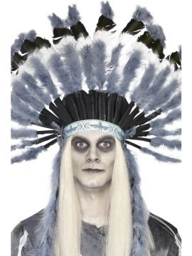 Ghost Town Indian Headdress For Sale - Ghost Town Indian Headdress, with Grey Feathers | The Costume Corner Fancy Dress Super Store