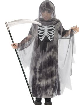 Ghostly Ghoul For Sale - Grey Ghostly Ghoul Costume includes: Hooded Robe with glow in the dark skeleton chest detail. | The Costume Corner Fancy Dress Super Store