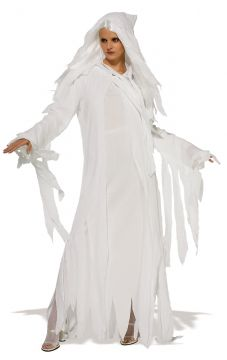 Ghostly Spirit For Sale - Wig, hooded gauze coat and dress. | The Costume Corner Fancy Dress Super Store