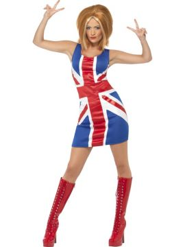 90's Icon - Ginger Spice For Sale - Ginger Power, 1990's Icon Costume, with Union Jack Dress | The Costume Corner Fancy Dress Super Store
