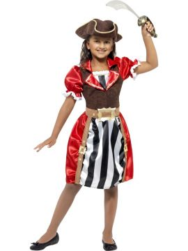Girl Captain For Sale - Girls Pirate Captain Costume, Red, Dress with Mock Waistcoat, Hat and Mock Belt | The Costume Corner Fancy Dress Super Store