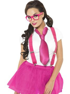Glam Geek Kit For Sale - Glam Geek Kit, Pink, with Glasses, Braces and Tie, in Display Pack | The Costume Corner Fancy Dress Super Store