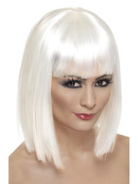Glam Wig For Sale - Glam Wig, White, Short, Blunt with Fringe | The Costume Corner Fancy Dress Super Store