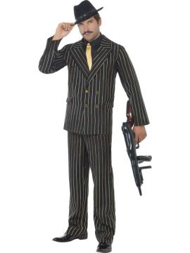 Gold Pinstripe Gangster For Sale - Gold Pinstripe Gangster Costume, with Jacket, Trousers, Shirt Front and Tie | The Costume Corner Fancy Dress Super Store