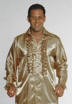 Gold Satin Frill 1970s Shirt For Sale - Gold Satin Frill 1970s Shirt