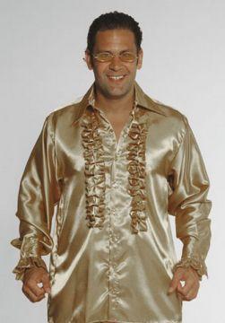 Gold Satin Frill 1970s Shirt For Sale - Gold Satin Frill 1970s Shirt (Hire Costume) | The Costume Corner