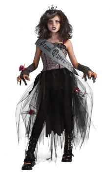 Goth Prom Queen For Sale - Contains dress, sash, glovelets, wrist corsage & tiara | The Costume Corner Fancy Dress Super Store