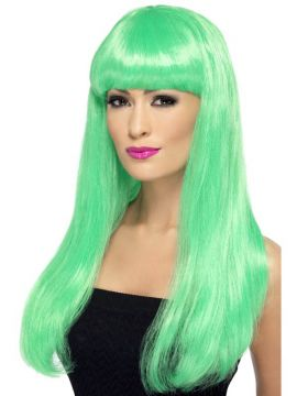 Babelicious Wig - Green For Sale - Babelicious Wig, Green, Long, Straight with Fringe | The Costume Corner Fancy Dress Super Store