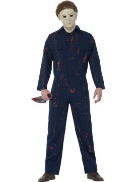 Halloween H20 Michael Myers For Sale - Costume with blood stained blue jumpsuit, latex mask & knife | The Costume Corner Fancy Dress Super Store