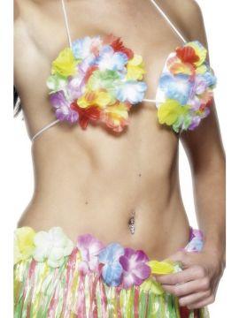 Flowered Bra For Sale - Hawaiian Flowered Bra, Multi-Coloured | The Costume Corner Fancy Dress Super Store