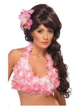 Hawaiian Flower Halterneck Top - Pink For Sale - Hawaiian Flowered Halterneck Top, Pink | The Costume Corner Fancy Dress Super Store