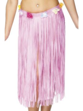 Hawaiian Hula Skirt For Sale - Hawaiian Hula Skirt, Baby Pink, with Flowers and Velcro Fastening, 29 inches, in Display Pack | The Costume Corner Fancy Dress Super Store