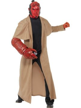 Hellboy Costume For Sale - Hellboy Costume, includes Coat, Mask, Arm Piece and Belt Buckle, in Display Bag | The Costume Corner Fancy Dress Super Store