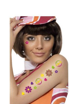 Hippie Tattoos For Sale - Includes two piece signs, four hearts, four mini flowers and two flowers in various colours. | The Costume Corner Fancy Dress Super Store
