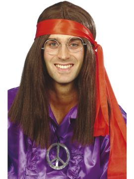 Hippy Man Kit For Sale - Hippy Man Kit, Brown Wig, Specs, Peace Sign Medallion & Headband | The Costume Corner Fancy Dress Super Store