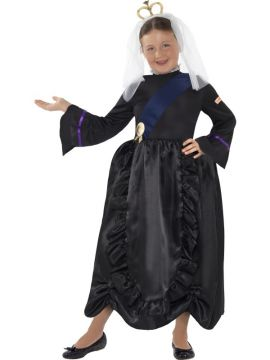 Horrible Histories - Queen Victoria For Sale - Black, with Dress and Headpiece | The Costume Corner Fancy Dress Super Store