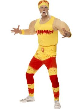 Hulk Hogan For Sale - Hulk Hogan Costume, With Padded Top With Vest and Belt, Leggings, Moustache and Bandana With Hair | The Costume Corner Fancy Dress Super Store