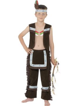 Indian Boy For Sale - Indian Boy Costume, Brown, with Waistcoat, Fringed Chaps and Headband | The Costume Corner Fancy Dress Super Store