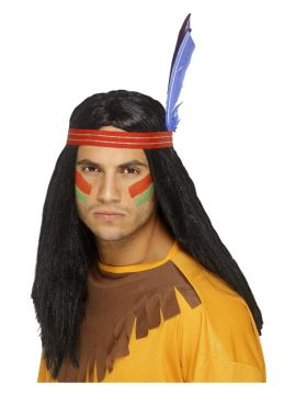 Wig - Indian Brave For Sale - Indian Brave Wig, Black, Long, Straight, with Headband and Feather | The Costume Corner Fancy Dress Super Store
