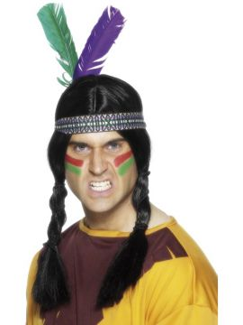 Indian Feathered Headband For Sale - Indian Feathered Headband, Multi-Coloured, with 2 Feathers | The Costume Corner Fancy Dress Super Store