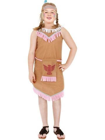 Indian Girl For Sale - Indian Girl Costume With Bird Badge, With Dress and Headband | The Costume Corner Fancy Dress Super Store
