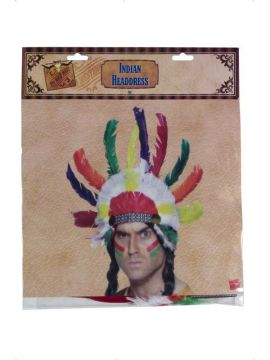 Indian Headdress For Sale - Large Multi Coloured Indian Headdress with Feathers. | The Costume Corner Fancy Dress Super Store