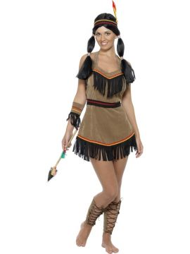 Indian Woman For Sale - Indian Woman, Brown, with Dress, Belt, Headband, Armband and Leg Cuffs | The Costume Corner Fancy Dress Super Store