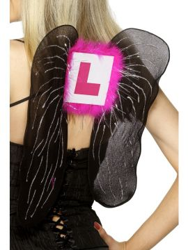 L Plate Wings For Sale - Black fairy wings with pink L Plate. | The Costume Corner Fancy Dress Super Store
