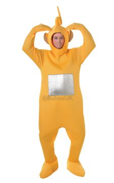 Laa-Laa For Sale - Laa-Laa Teletubbies bodysuit with internal pouch for belly stuffing and headpiece. As Laa-Laa, you'll love to sing and dance with your fellow Teletubby fans in a Teletubby... | The Costume Corner Fancy Dress Super Store