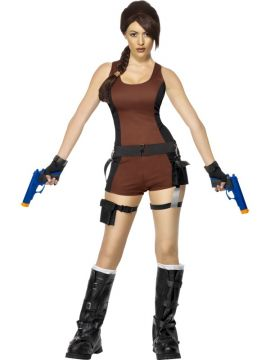 Lara Croft - 'Tomb Raider' For Sale - Lara Croft Underworld Costume, With Top, Shorts, Shoulder Harness, Gun Holsters, Gloves and Boot Covers | The Costume Corner Fancy Dress Super Store