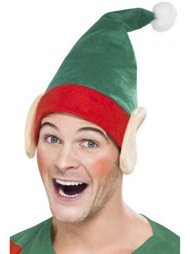Little Helper Hat For Sale - Green Little Helper Hat with Elf Ears and White Pom Pom | The Costume Corner Fancy Dress Super Store