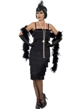 Long Black 20s Flapper Dress For Sale - Includes black flapper dress, headband & gloves | The Costume Corner Fancy Dress Super Store