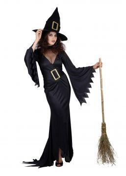 Long Black Witch Costume For Sale - Contains Dress & Hat  Standard Womens One Size   The Costume Corner Fancy Dress Super Store