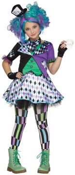 Mad Hatter For Sale - Dress, necktie, headpeice on headband, glovelets & matching footless tights | The Costume Corner Fancy Dress Super Store