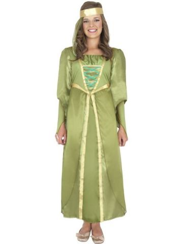 Maid Marion For Sale - Green Maid Marion dress with gold trim and matching headband. | The Costume Corner Fancy Dress Super Store
