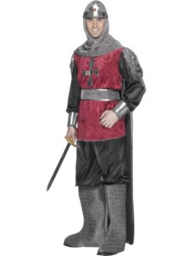 Medieval Knight For Sale - Medieval Knight Costume, Tunic with Cape, Trousers, Hood, Bootcovers & Belt | The Costume Corner Fancy Dress Super Store